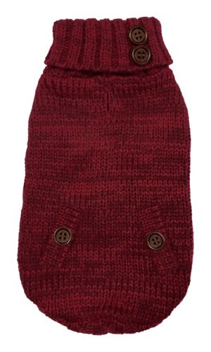 PAWS UP! Cable Knit Turtleneck Dog Sweater, Large