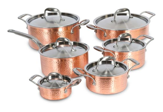 Lagostina Copper Hand Hammered Design Cookware Set, 12-pc Product image