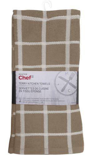 MASTER Chef Terry Kitchen Towel, Mushroom, 4-pk Product image
