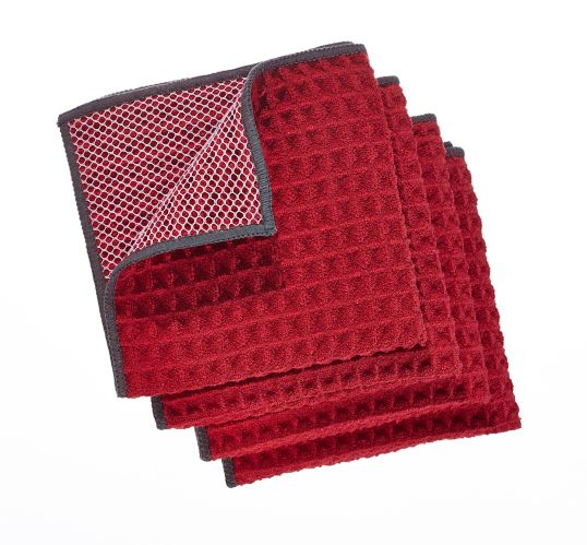 PADERNO Microfiber Dishcloth with Scrubber, Red, 4-pk Product image