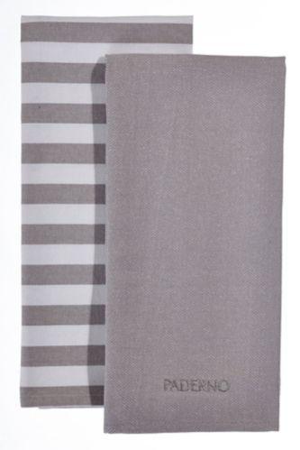 PADERNO Yarn-Dyed Kitchen Towel, Light Grey, 2-pk