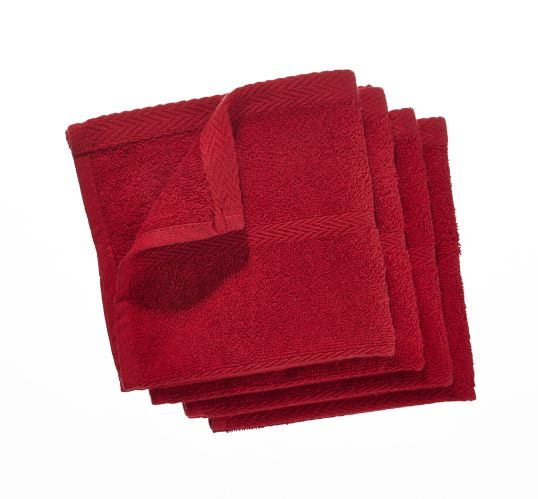 PADERNO Terry Dishcloths, Red, 4-pk