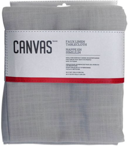 CANVAS Faux Linen Tablecloth, Light Grey, 60 x 102-in Product image