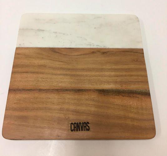 Planche en marbre et bois d'acacia CANVAS, 9 x 9 po Image de l'article