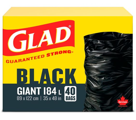 Glad Black Garbage Bags - Giant 184 Litres - 40 Trash Bags Product image