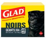 Glad Black Garbage Bags - Giant 184 Litres - 40 Trash Bags | GLADnull