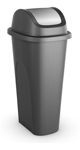 type A Garbage Bin, Black/Silver, 42-L