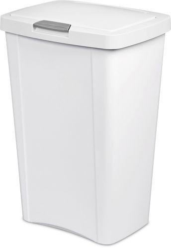 Sterilite Touch Top Trash Bin, White, 49-L Product image