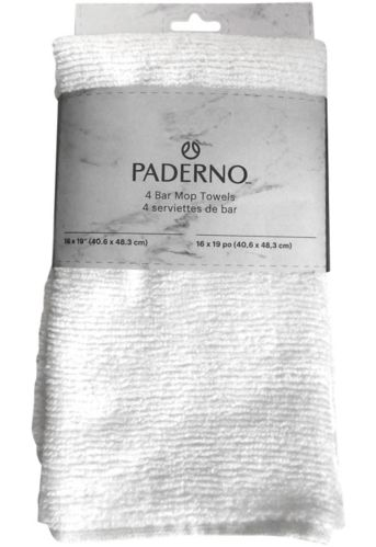 PADERNO Bar Mop Dishcloths, 16-in x 19-in, 4-pk