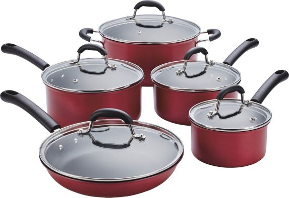 MASTER Chef Non-Stick Cookset, Red, 10-pc