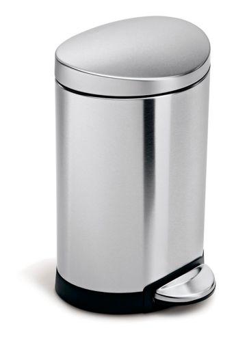simplehuman Stainless Steel Semi-Round Step Bin, 6-L