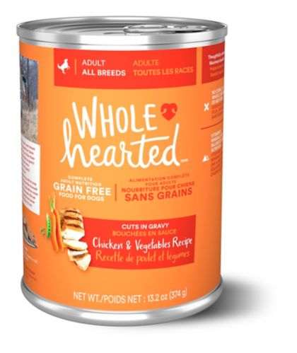 WholeHearted Grain Free Adult Wet Dog Food, Chicken & Vegetables, 375-g
