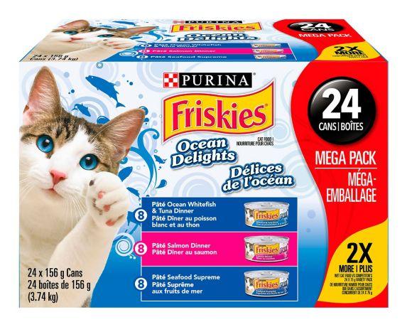 Assortiment de nourriture humide pour chats Purina Friskies Délices de l'océan, paq. 24