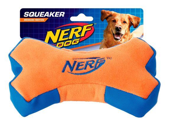 Nerf Crunch & Squeak Plush Bone Dog Toy