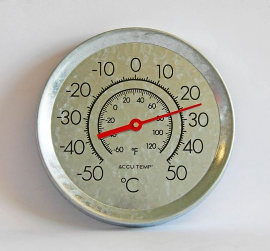 Accutemp Indoor/Outdoor Galvanized Steel Round Thermometer, 8-in Product image
