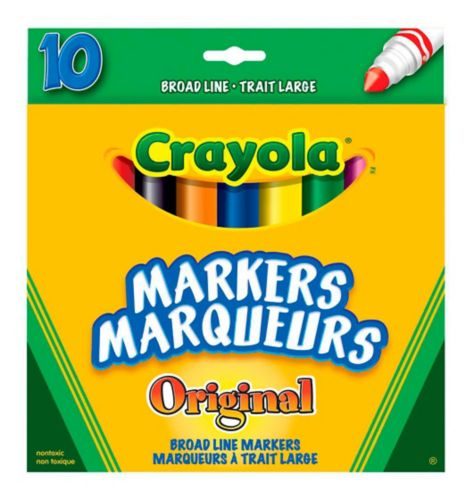 Crayola Broad Line Markers, Assorted, 10-ct