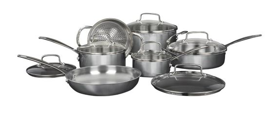 Cuisinart Clad Tri-Ply Stainless Steel Cookware Set, 12-pc