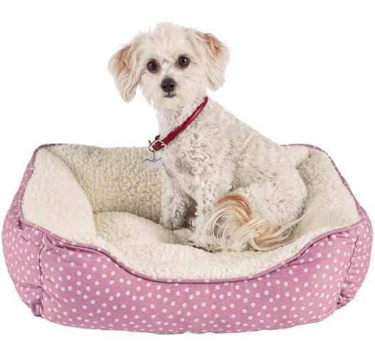 Petco Nester Dog Bed, Pink Dot, 20-in x 17-in