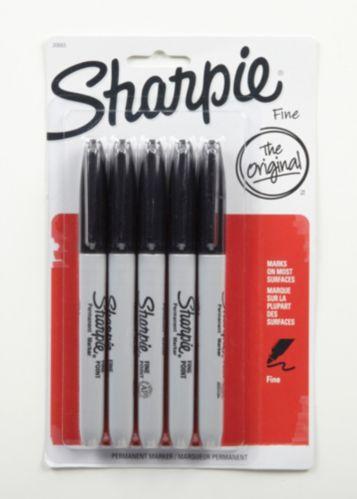 Marqueurs permanents à pointe fine Sharpie, noir, paq. 5 Image de l'article