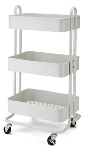type A Momentum 3-Tier Utility Cart, White