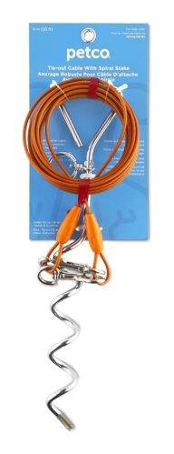 Câble d'attache avec piquet spiralé Petco, orange, 20 pi