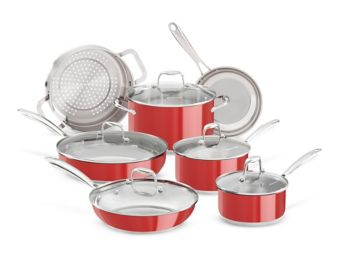 KitchenAid Stainless Steel Cookware Set, Red, 12-pc