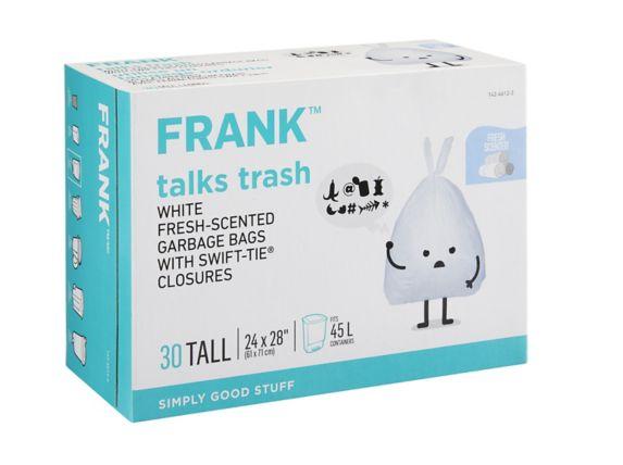 Sac à ordures FRANK, blanc, G, 45 L, parfum frais, paq. 30