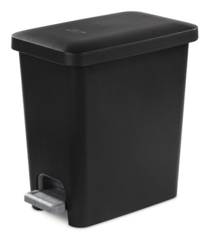 Sterilite Ultra™ Step-On Wastebasket Trash Can, Black, 9.8-L