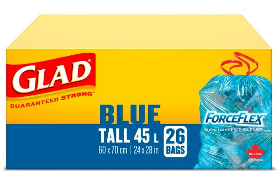 Glad Blue Recycling Bags - Tall 45 Litres - ForceFlex, Drawstring, 26 Trash Bags Product image