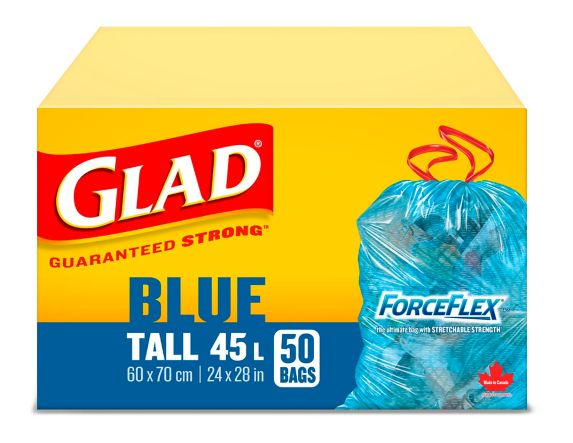 Glad Blue Recycling Bags - Tall 45 Litres - ForceFlex, Drawstring, 50 Trash Bags Product image