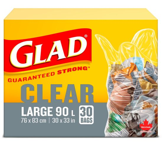 Glad Clear Garbage Trash Bags - Large,  90-L, 30-pk Product image