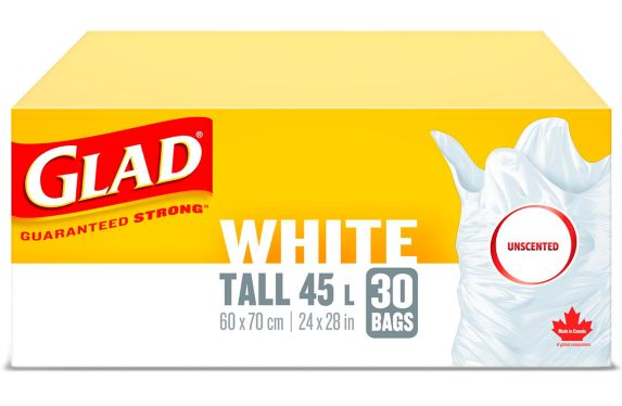 Glad White Tall Easy-Tie Garbage Trash Bags, Unscented, 45-L, 30-pk