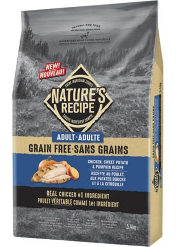 Nature's Recipe Grain-Free Adult Chicken, Sweet Potato & Pumpkin Recipe Dry Dog Food, 5.4-kg