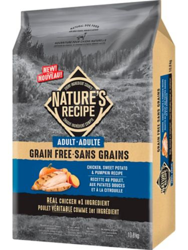 Nature's Recipe Grain-Free Adult Chicken, Sweet Potato & Pumpkin Recipe Dry Dog Food, 10.8-kg Product image