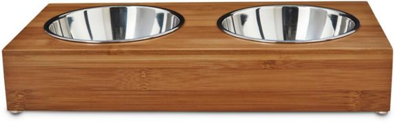 Petco Wood Double Diner Dog Bowls, 1.75-Cup Product image