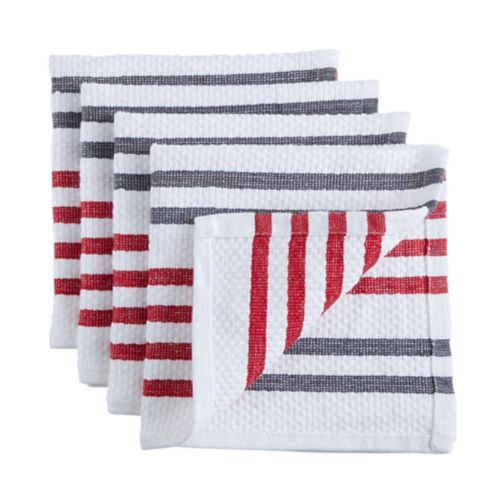 PADERNO Basket Weave Dishcloth, Red, 4-pk