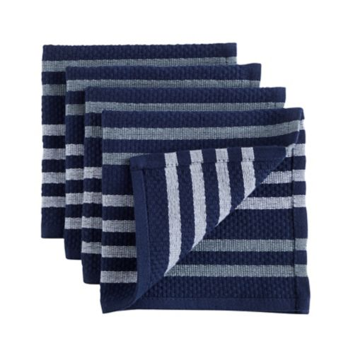 PADERNO Basket Weave Dishcloth, Navy, 4-pk