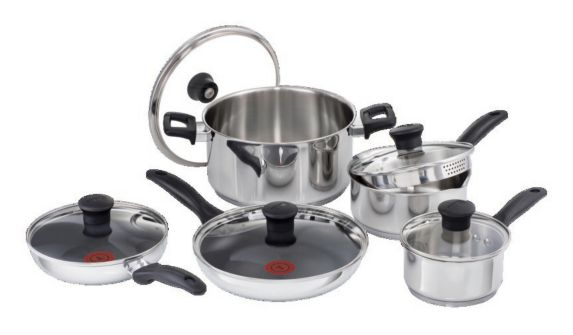 T-fal Stainless Steel Cookset, 10-pc