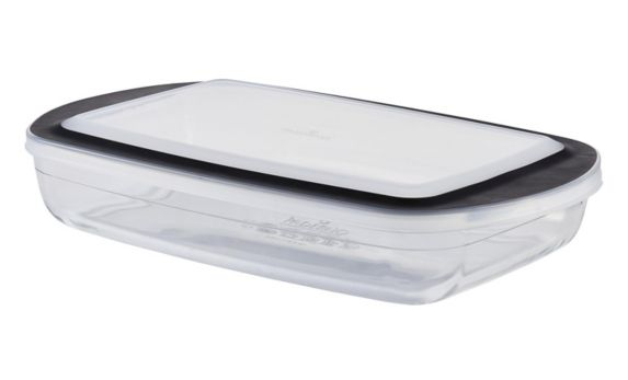 PADERNO Glass Oblong Baking Dish with Lid, 3.8-qt