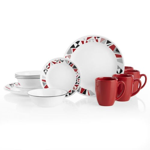Corelle Mosaic Red Dinnerware Set, 16-pc Product image