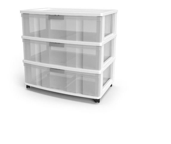 type A Element 3-Drawer Wide Storage Tower with Wheels Product image