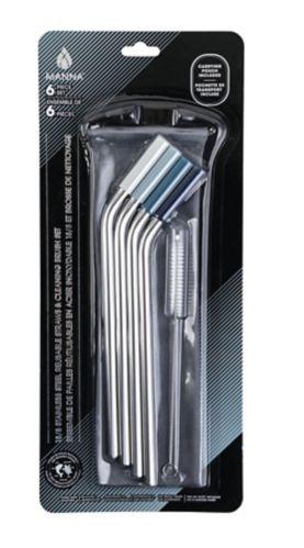 Pailles réutilisables en inox avec embouts de silicone, paq. 4