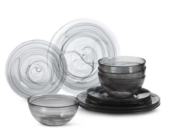 Service de vaisselle CANVAS Odessa, noir, 12 pces