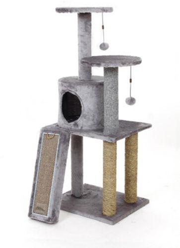 Cat Craft Cat Tree Playset with Cardboard Scratcher, 45-in