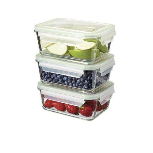 MASTER Chef Glass Clip Lid Food Storage Set, 3-pc, 970-mL