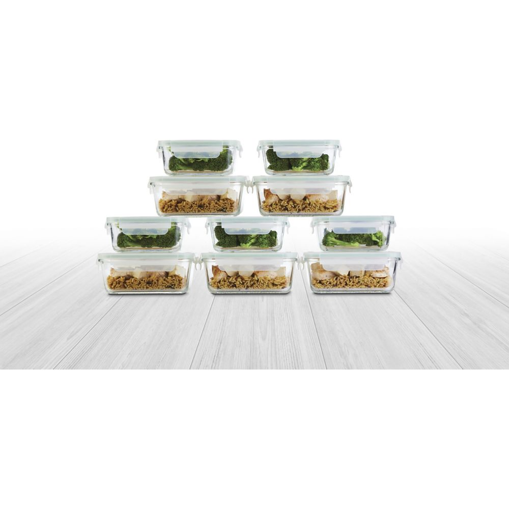 Master Chef Glass Clip Lid Food Storage Set, 20-pc