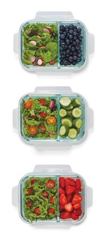 MASTER Chef Glass Clip Food Storage Set with Compartments, 6-pc