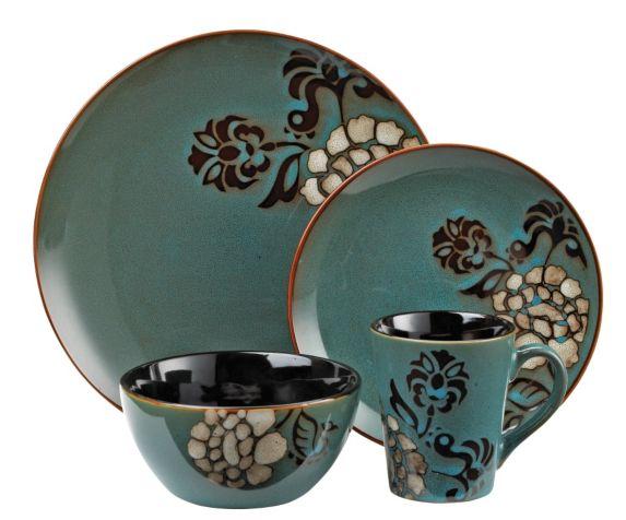 Cuisinart 16-Piece Blue Stoneware Dinner Set