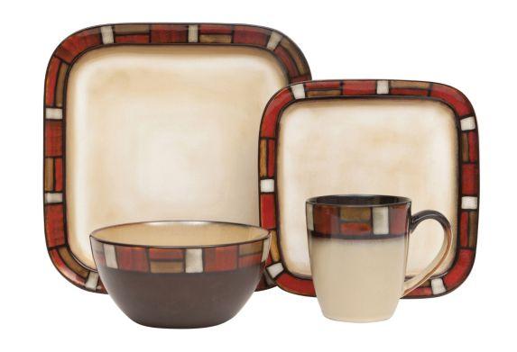 Cuisinart 16-pc Red Brickson Dinnerware Set
