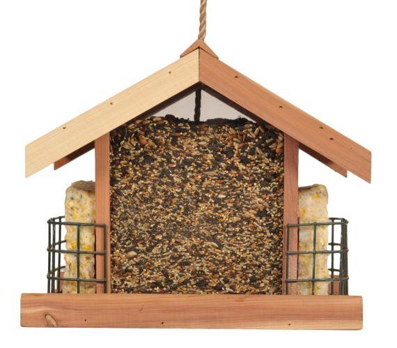 Mangeoire à oiseaux en cèdre avec stations pour suif